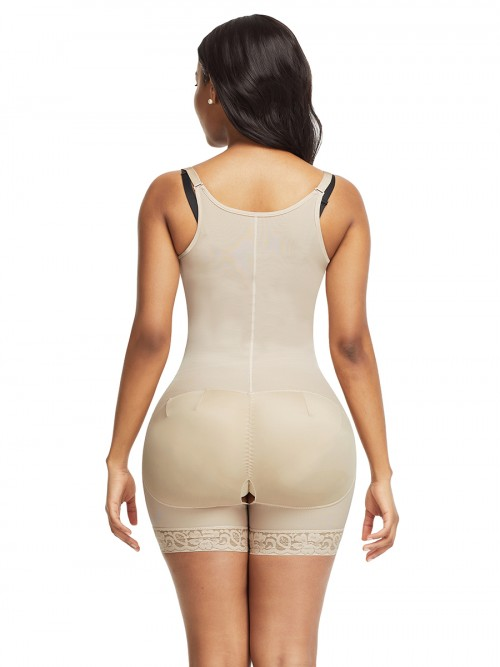 Lightweight Skin Color Full Body Shaper Lace Trim Front Zipper