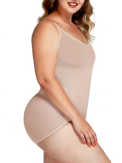 Nude Big Size Stretch Body Shaper Adjustabe Straps Weight Loss