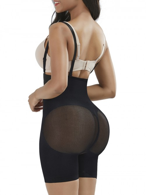 Black Seamless Sheer Mesh Full Body Shaper Hourglass Figure