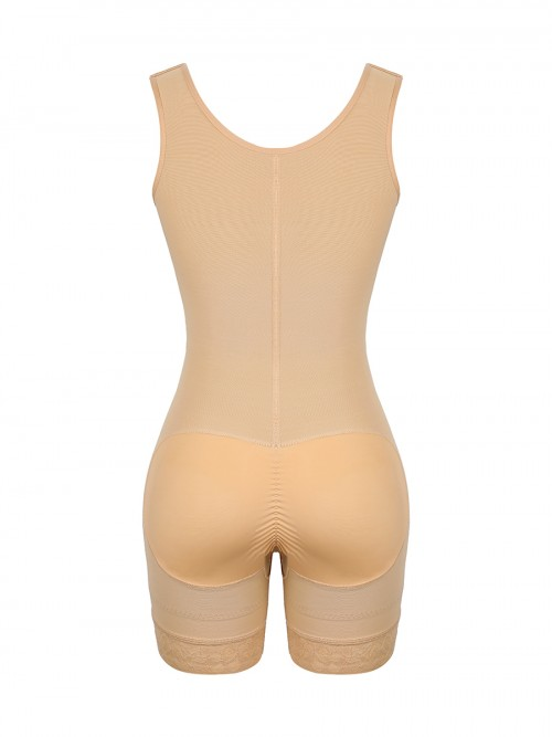 Deep Skin Color 3 Rows Hooks Adjustable Strap Body Shaper Stretch