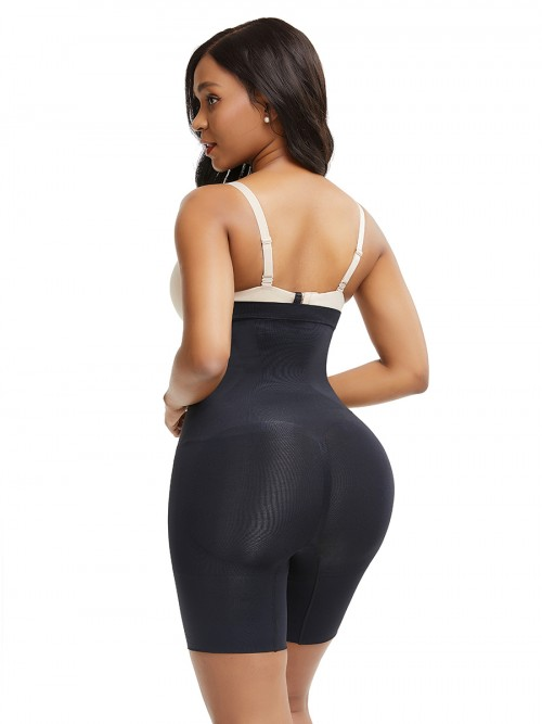 Black Seamless Big Size Shapewear Pants Buckle Flatten Tummy