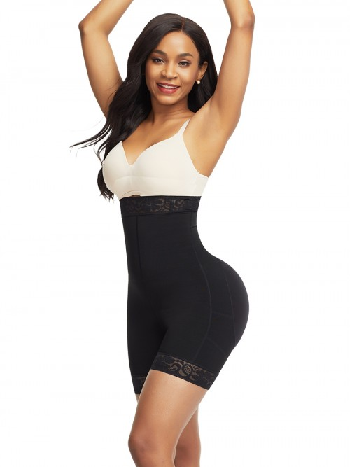 Black Lace Trim High Waist Shapewear Buttock Lift Tummy Control
