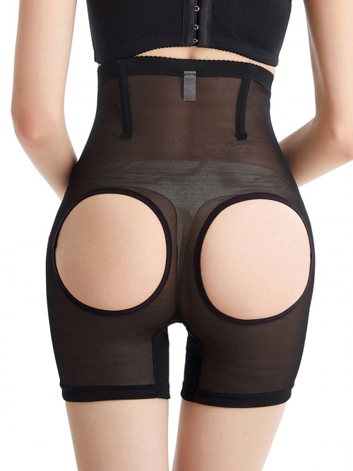 Black Open Butt High Waisted Plus Size Panty Girdle Hourglass Figure