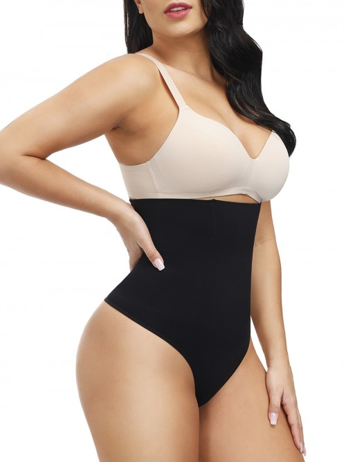 Black Seamless Body Shaper Thong 4 Steel Bones Instant Slimmer