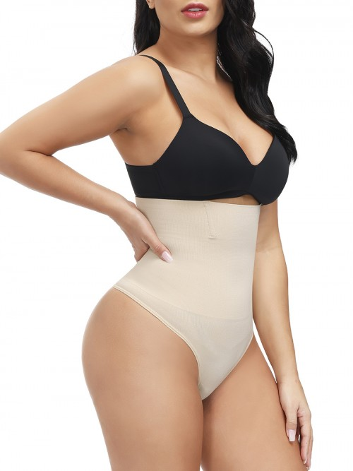 Skin Color Large Size High Waist Thong Shaper Tummy Training