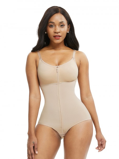 Thermo Heating Skin Color Full Body Shaper Adjustable Straps Big Size Curve Shaping