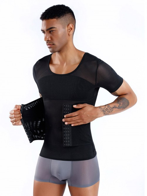 Stretch Black Men's Shaper Pressure Band Cross Back Calories Burning