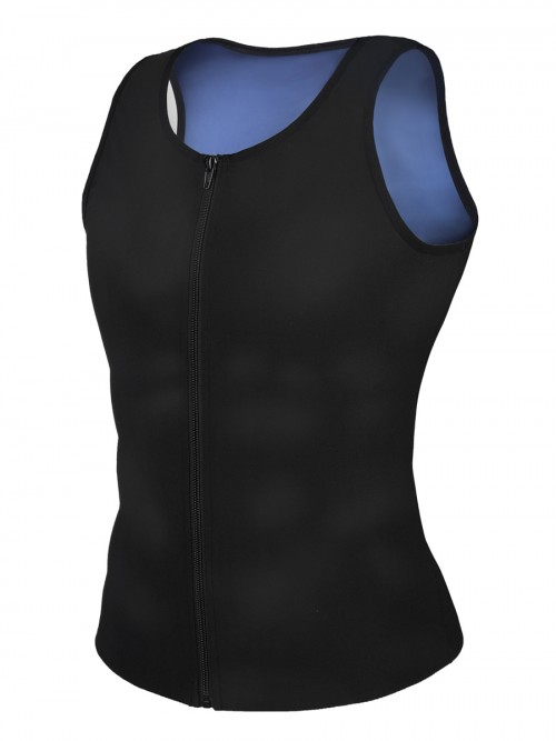 Blue Men Sweat Plus Size Shpaewear Tank Zipper Fat Burning