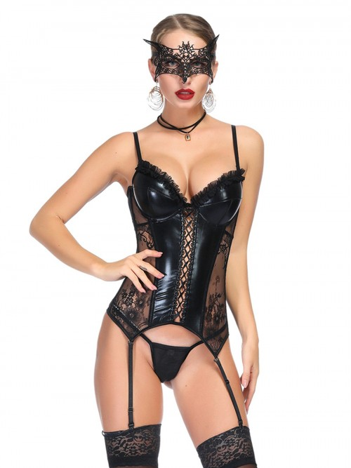 Relaxing PU Leather Mesh Patchwork Bustier High Quality Fabric
