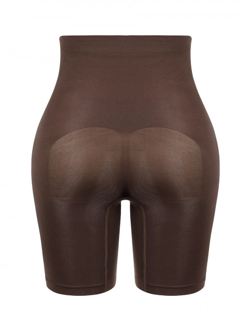 Deep Brown Seamless Shapewear Shorts High Waist Body Shapewear
