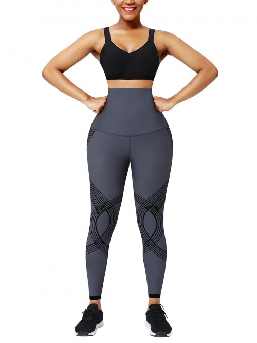 Deep Gray 3D Print Shapewear Pants High Waist Body Sculpting