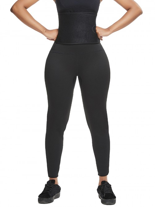 High Waist Sweat Capris Pants Waist Trainer Zipper Closure Tummy Control