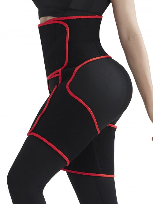 Red High-Waist Thigh Trainer Shapewear With Pocket Custom Logo
