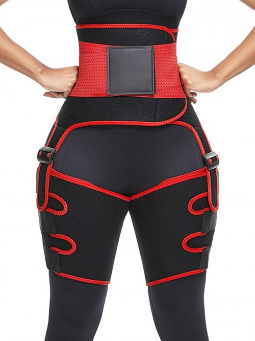 Skin-Friendly Red Neoprene Thigh Trainer High Waist Adjustable