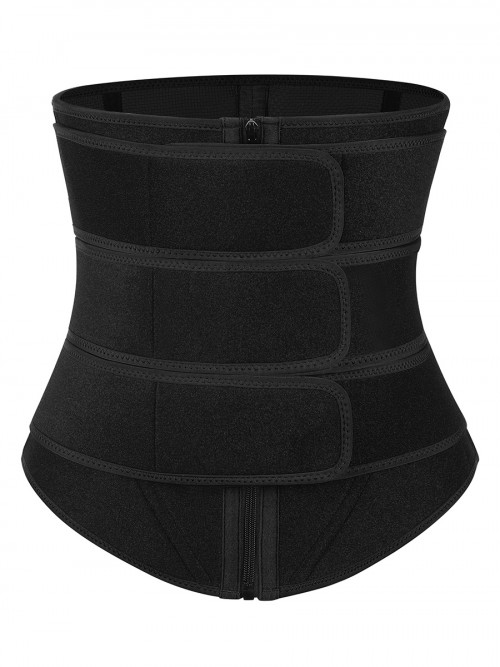 Slimming Stomach Black Neoprene Zip Three-Belt Waist Trainer