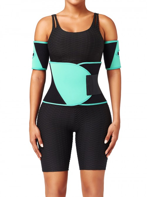 Light Green Neoprene Color Block Waist Trainer High Power