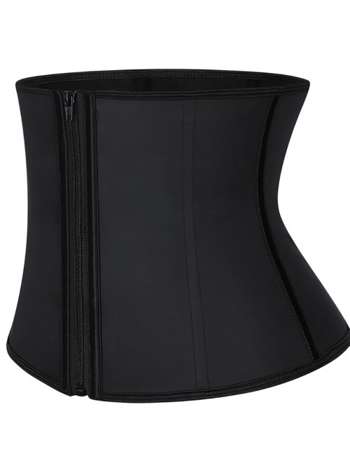Sassy Black Zipper Latex Waist Trainer Plus Size Fashion Design