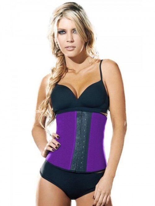 4 Steel Boned Purple Sport Latex Rubber Waist Trainer Cincher Underbust Corset