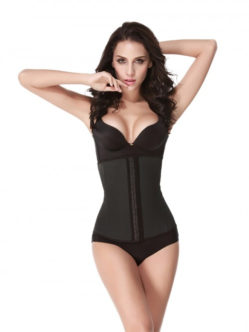 4 Steel Boned Black Latex Waist Cincher Waist Training Corsets Shaper