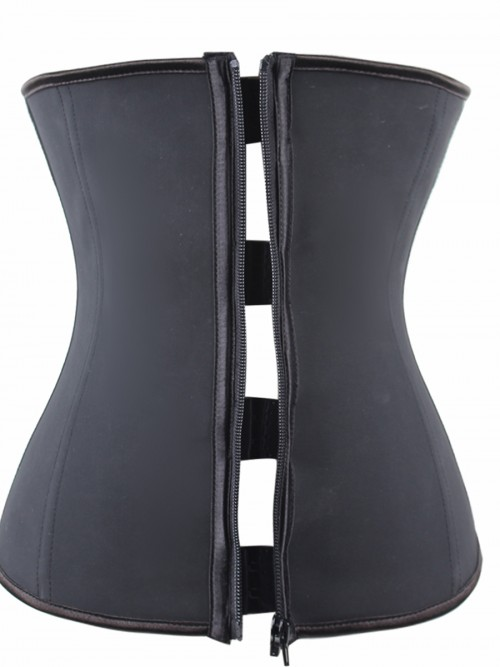 Black Latex Waist Cincher Zipper With Hooks Closure Waist Slimmer