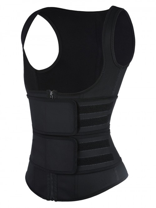 Black Latex Vest Shaper Double Belts With Zipper High-Compression
