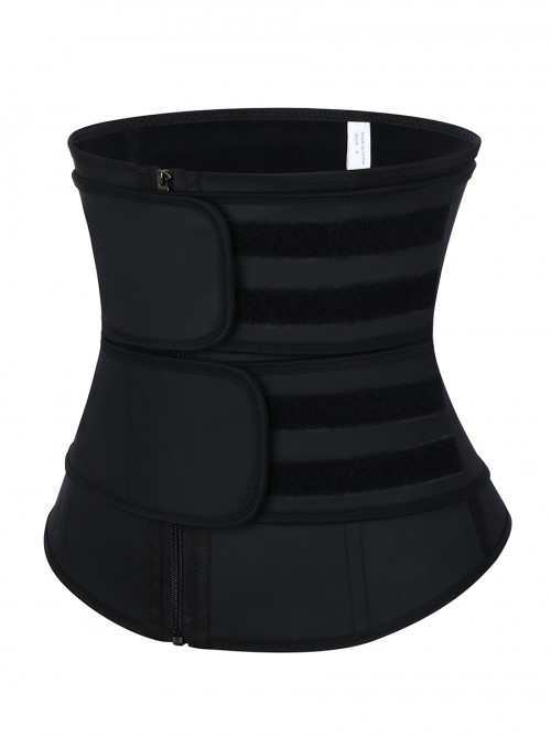 Ultimate Black Sticker Latex Double-Belt Waist Trainer Fitness
