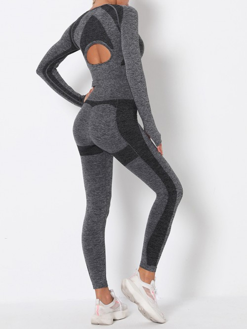 Sensual Dark Gray Long Sleeve High Rise Sweat Suit Stretchable