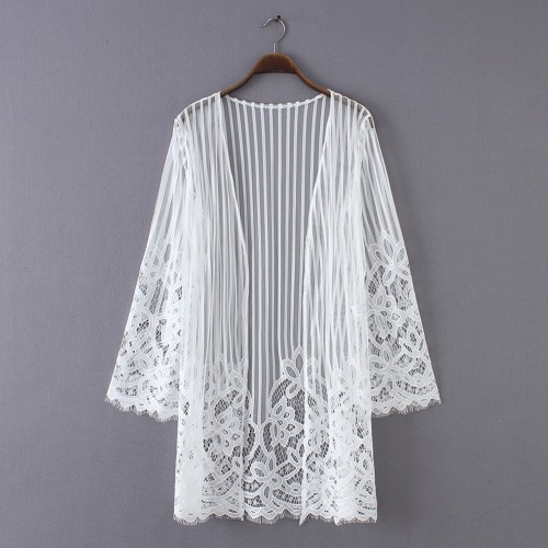 White Plus Size Long Sleeve Lace Hollow Cardigan Beach Dress Casual Wear