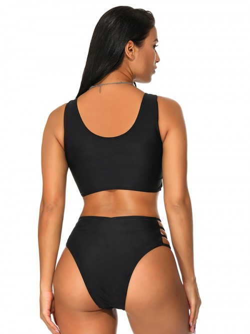 Black Bikini Cut Out Solid Color High Cut