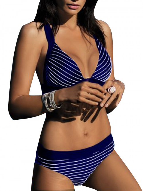 Absorbing Dark Blue Padded Bikini Stripe Paint High Cut