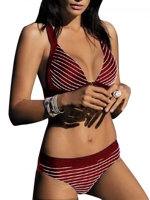 Beach Playing Time Jujube Red Adjustable Strap Bikini Open Back