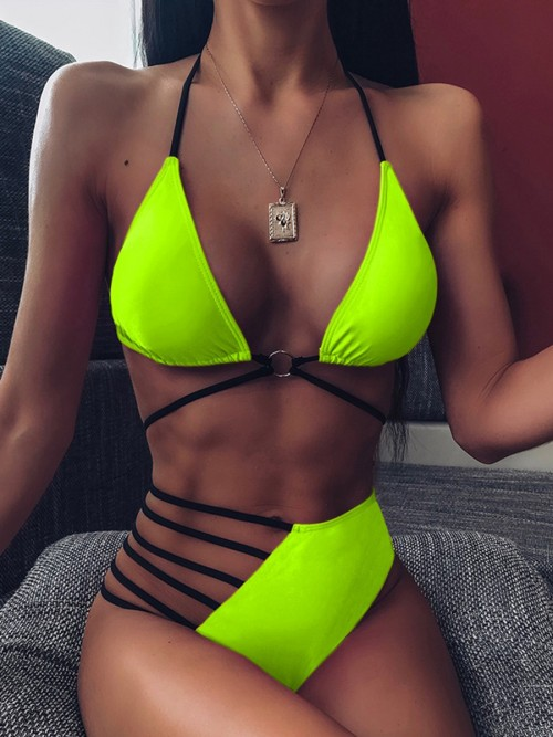 Beach Green Wireless Bikini Hollow Out Halter Neck For Girls