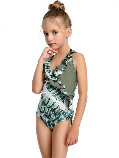 Popularity Mother Kid Swimsuit Patchwork High Cut Womenswear