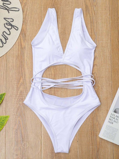 Alluring White Backless High Cut One-Piece Swimsuit Forward
