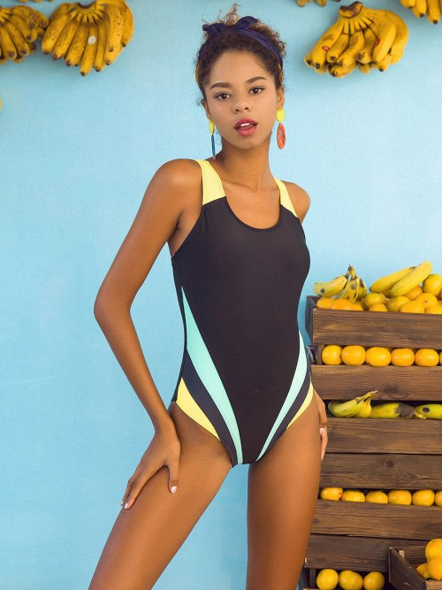 Captivating Black Contrast Color One Piece Swimwear Women Fashion