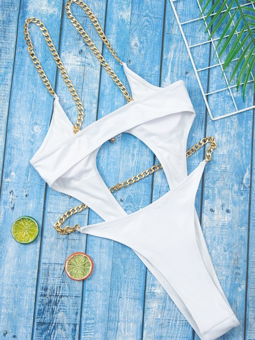 Beach Time White Solid Color Open Back Swimsuit Understated Design