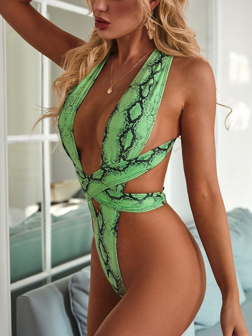 Frisky Green Cross Back One Piece Swimwear Wireless Summer Beach Time