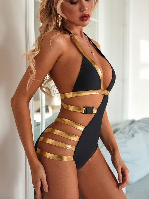 Exclusive Black Hollow Out One Piece Swimwear Patchwork Comfort Women