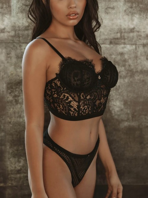 Exquisite Black Double-Layer Bra High Leg G-String Standard Fit