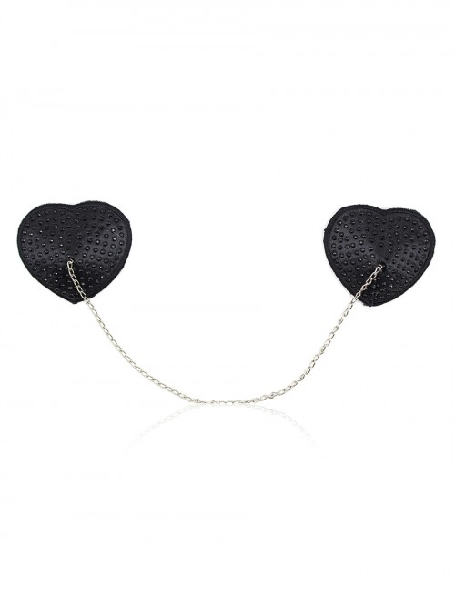 Luscious Black Adhesive Chain Nipple Cover Reusable Sexy Lingerie