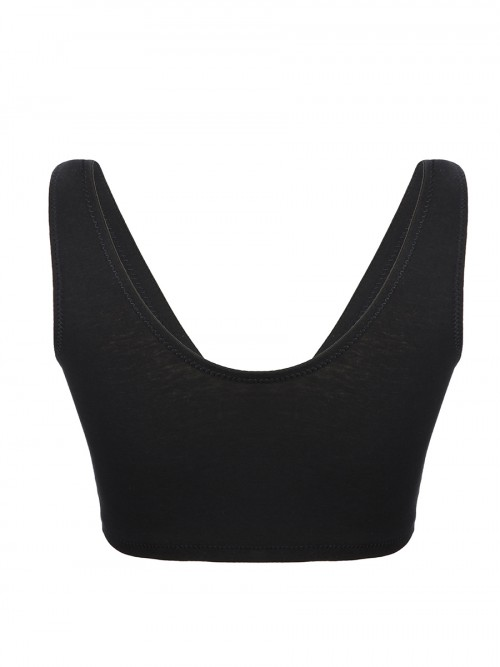 Basic Black Removable Cups Solid Color Maternity Bra Soft Fabric