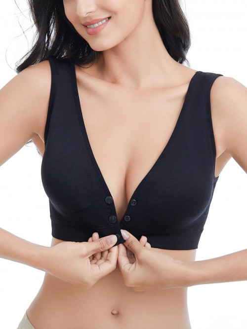 Must-Have Black Nursing Bra Wide Strap U-Shaped Back High Grade