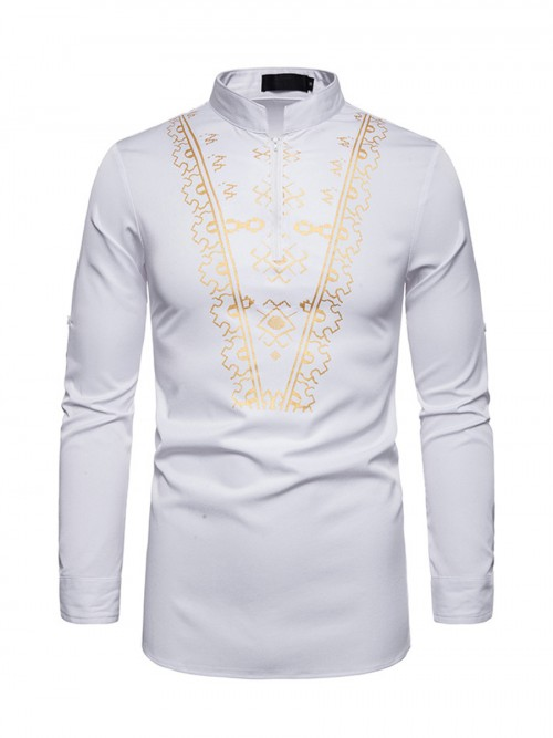 Exceptional White Standing Neck African Men Zipper Shirt Fashion Shopping