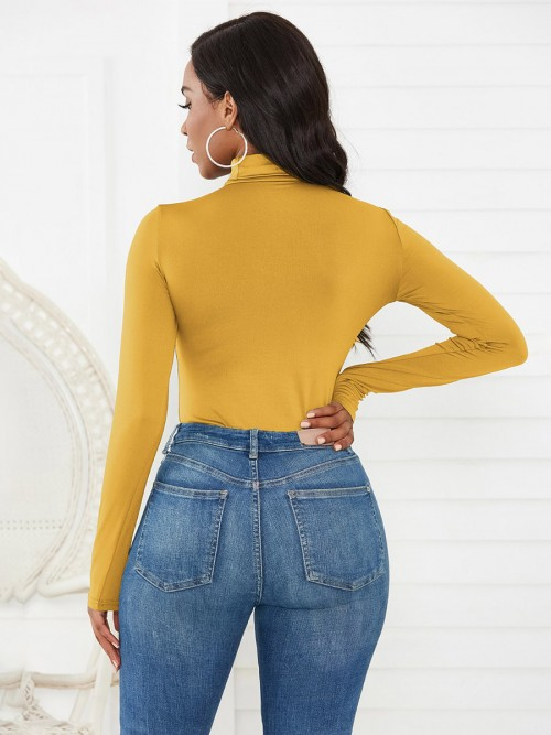Inspired Yellow Bodysuit Solid Color High Collar Glamor Women