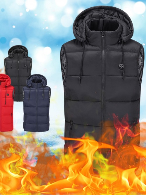 Black Temperature Adjustment USB Heating Vest Weekend Fashion