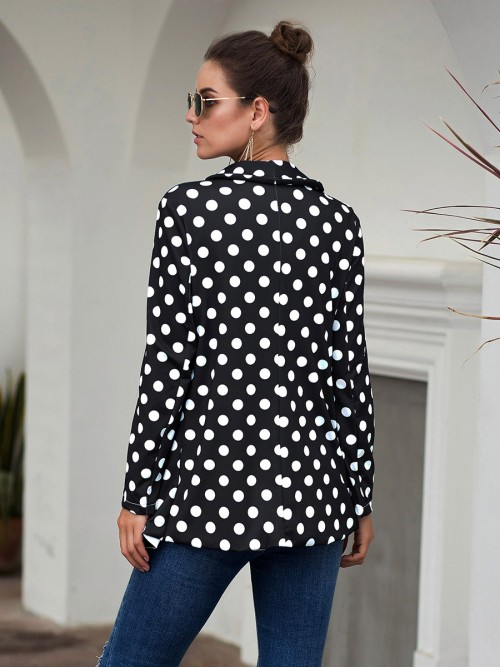 Popularity Black Polka Dot Pattern Lapel Suit Jacket Women's Essentials