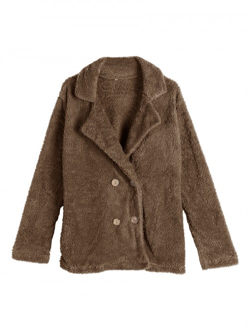 Simplicity Brown Solid Color Plush Coat Button For Ladies