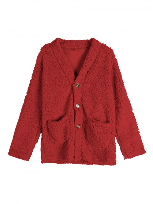 Chic Red Big Size Plush Coat Solid Color For Playing