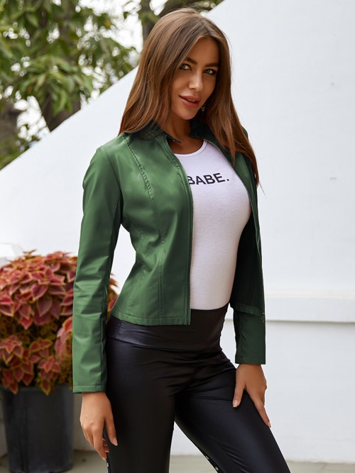 Elegance Green Stand Neck PU Jacket Long Sleeves Casual