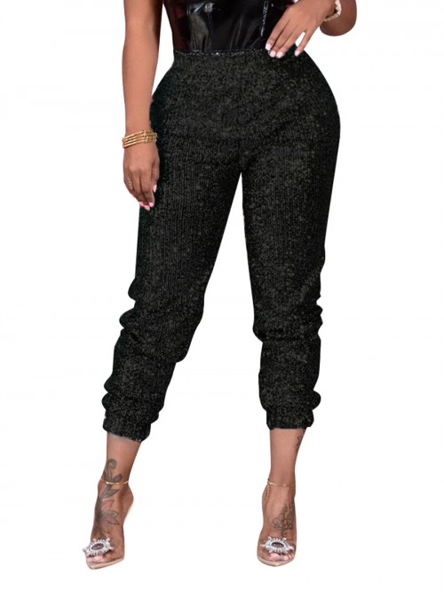 Black Sequin Elastic Waist Full Length Pants Casual Women Clothes Online